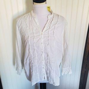 XL white long sleeve ruffle summer beach blouse